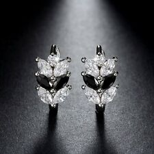 White Gold Plated Earrings With Black And White Cubic Zirconia