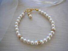 Pulsera de perlas oro señoras Pulseras Para Sus Niñas Dama Boda Regalo 2RD