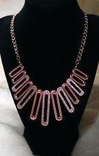 Alfani Rose Gold Tone Linear Oval Link Crystal Frontal Necklace NWT $44