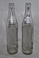 Diet Double Cola Bottle Pop Soda Clear Glass 16 oz ACL Pint Lot 2 Vintage