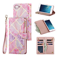 For iPhone SE 2020 XR 11 7 8 Zip Coin Purse Card Flip Leather Wallet Phone Case