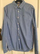 Tommy Hilfiger Mens Stripe Blue Shirt. Size S Slim Fit