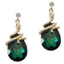Navachi Curly Snake Emerald Green Zircon Crystal 18K GP Earrings BH1901