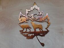 Wolf Scene with Rustic Copper Patina Finish Metal Wall Art Hanging