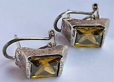 Vintage Solid Silver & Citrine Earrings