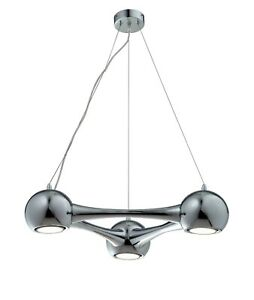 6573 Perivale 3 way suspension light in Chrome finish with LED bulbs