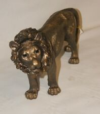 Large Standing Bronze Lion King Naturecraft Figures Reflection Charm Statue Gift