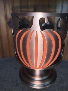 Bath & Body Works Copper Pumpkin Autumn Fall Pedestal 3 Wick Candle Holder