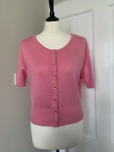 Hell Bunny Cropped Pink Cardigan Short Sleeved Size Large 50s Rockabilly UK 14