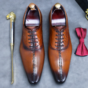 Mens Pointy Toe Wedding Oxfords Work Office Real Leather Business Leisure Shoes
