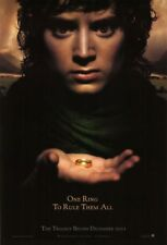 LORD OF THE RINGS FELLOWSHIP RING MOVIE POSTER 2 Sided ORIGINAL Advance  B 27x40