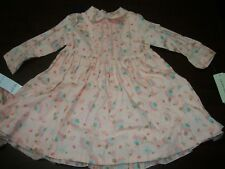 New Laura Ashley Baby Dress Gift 2pc Set Pink Floral Newborn Infant 18m