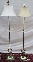 PAIR OF ART NOUVEAU GREEN SLAG GLASS ANTIQUE BRIDGE LAMPS