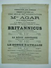 affiche théâtre sedan Melle Agar comédie française britannicus racine  1875