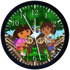 Diego and Dora Black Frame Wall Clock Nice For Decor or Gifts Z47