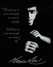 """BRUCE LEE QUOTE POSTER """" KNOWING IS NOT ENOUGH, WE MUST APPLY"""" 24""""x36"""" NEW"""