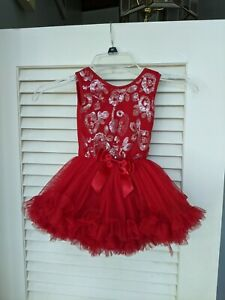 Popatu Dress Petti 18 M Wine Red Pageant Ruffles Ruffled Baby Girl Sequin