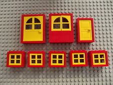 Lego Red & Yellow Bay Windows 2 Doors House Build Project City Town Village 04