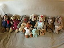 Vintage Lot of 10 1980s Wrinkles  Dogs w Outfit  Puppet Stuffed Animal Plush