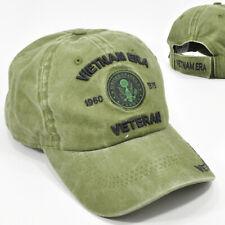 Vietnam Era Veteran Cap Hat Low Profile 100% Cotton Olive Green Adj Back Army