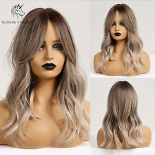 Brown Mix Ash Blonde Wigs with Bangs Long Natural Wave Synthetic Ombre for Women