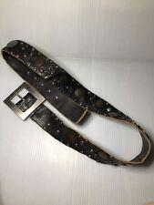 Rare-Black Hugo Boss Cow Leather Coins Big Belt Sz.34 Men's-Italy