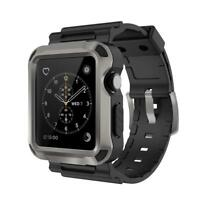 Apple Watch Series 3 Rugged Case Cover Black Strap Bands iWatch Shell 42mm Grey