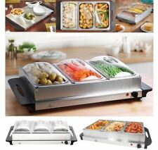 Faboer 300W Food Warmer Buffet Server Hot Plate 3 Tray Adjustable Temperature