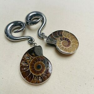 Fossil Tear Drop Surgical Steel Spiral Ear Weights 8mm (pair)