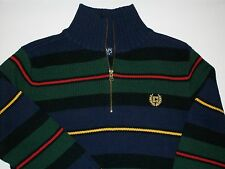 NWT RL CHAPS Striped 1/4 Zip Sweater Blue, Green, Red, Yellow, Black Med 12-14