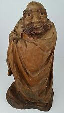 Vintage Hand Carved Solid Wood Statue Figurine of Ugly Bearded Man Wearing Cloak