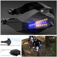 1 Pair Motorcycle Handguard Baffle w/ LED 12V DC Blue DRL & Yellow Turn Signal