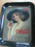 """COCA COLA 1972 METAL TRAY """"COCA COLA 1912 HAMILTON KING GIRL"""" RECTANGLE 13""""X11"""""""