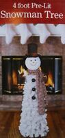 New Flocked Lighted Snowman White Christmas Tree Display 4' Tall Fully Decorated