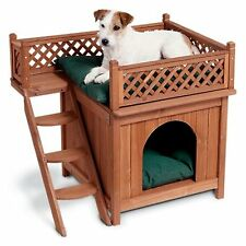 Pet House Wood Room View Bed Deck Balcony Puppy Small Dog Sturdy Raised