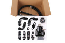 Black Adjustable Fuel Pressure Regulator Kit AN 6 Fitting End Universal