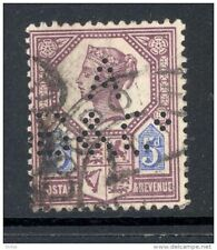 GB, Victoria  5d  with perfin   A B & Co   (D)