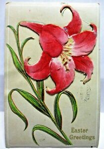 1910 POSTCARD EASTER GREETINGS, LARGE RED VELVET TIGER LILY