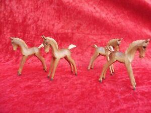 4 Belle, Petit Figurines en Bois, Chevaux (Poulain) , Bois Sculpté