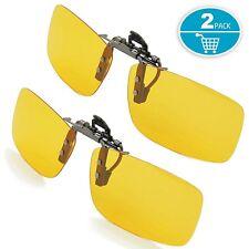 Yellow Night Vision Nighttime Glare Driving Aviator Clip-on Sun Glasses Goggles