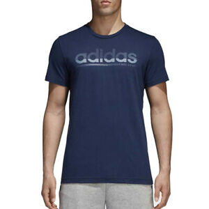 adidas Mens T Shirt Blue Polo Fading Linear Tee Sports Training Top CV4503