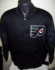 PHILADELPHIA FLYERS STARTER Varsity Jacket FLYERS Logo Sleeves L XL  BLACK