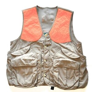 """Cabelas Men Large 47"""" Hunting Vest Game Pouch Pockets Tan Blaze Orange"""