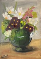 Print of original oil painting Art Vase of flowers impressionism shabby chic-+