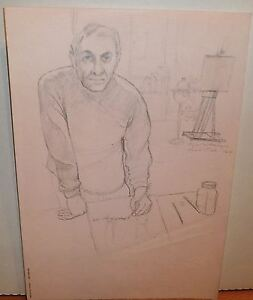 Self-Portrait of the Artist Drawing Pencil Drawing-1964-August Mosca