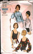 6283 Vintage Vogue Sewing Pattern Misses Blouson Blouse Deep Cut Neck 1960s 14
