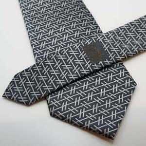 "Hermes Men's Luxury Neck Tie 100% Silk Necktie France Gray Silver 58""L 3.25""W"