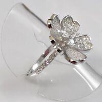 Saphir Cocktail Designer Ring Blüte Blume 925er Sterlingsilber 58 (18,4 mm Ø)