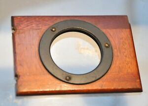 Front lens panel for small vintage camera. Wood. 37mm thread. 51mm wide. For cam