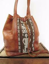 VINTAGE Brown Leather & Ethnic Print Tapestry Large Bucket Tote Bag Travel Purse